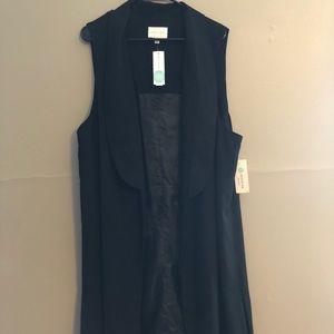 NWT Long black vest